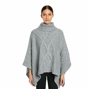 LANDS END Gray Aron Cable Knit Poncho Sweater